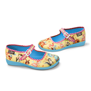 Chocolaticas® Kitschy Friends Yellow Women's Mary Jane Flat