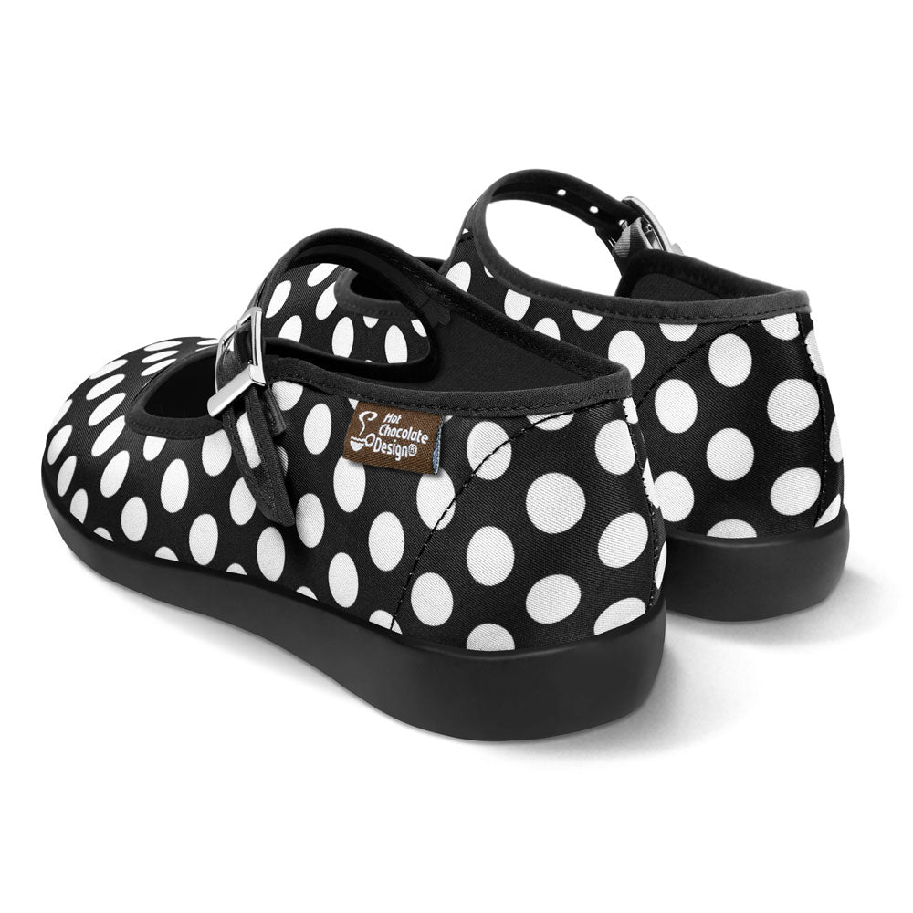 Chocolaticas® Black Polka Women's Mary Jane Flat