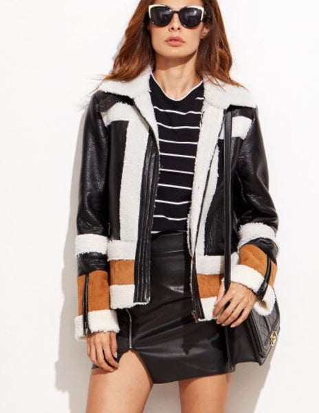 Faux Shearling and leather jacket