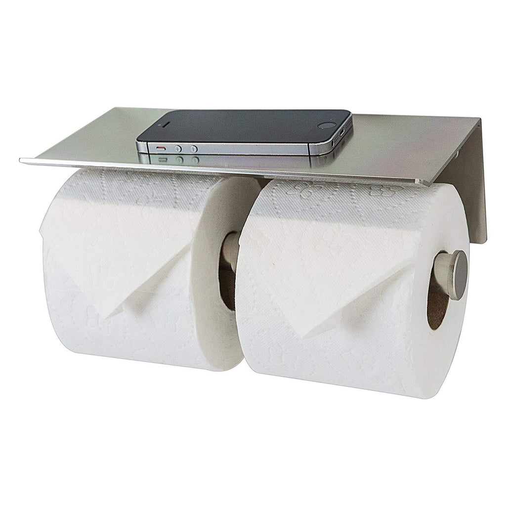 Double Toilet Paper Holder with Phone Shelf, Modern Style