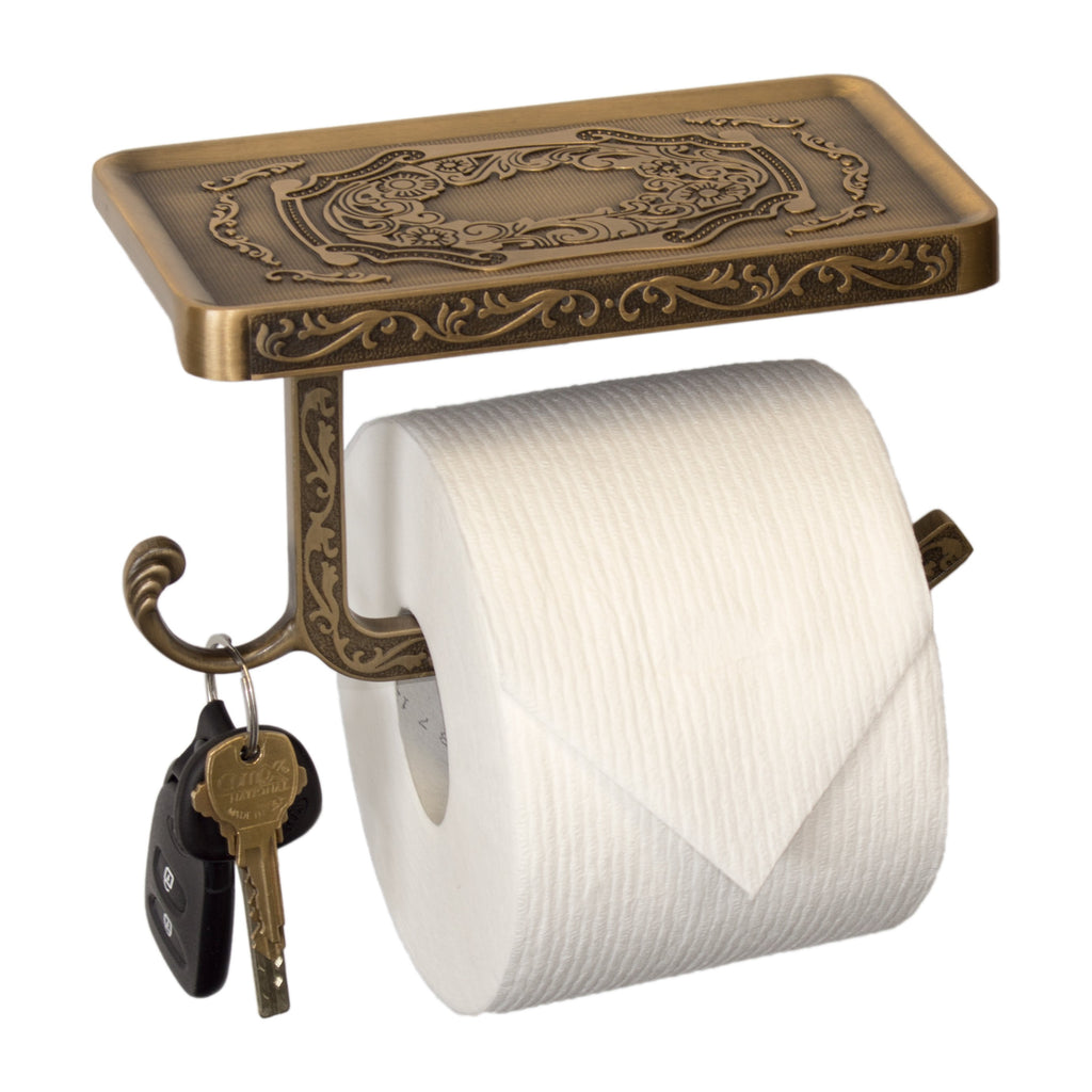 Toilet Paper Holder With Phone Shelf Vintage Style