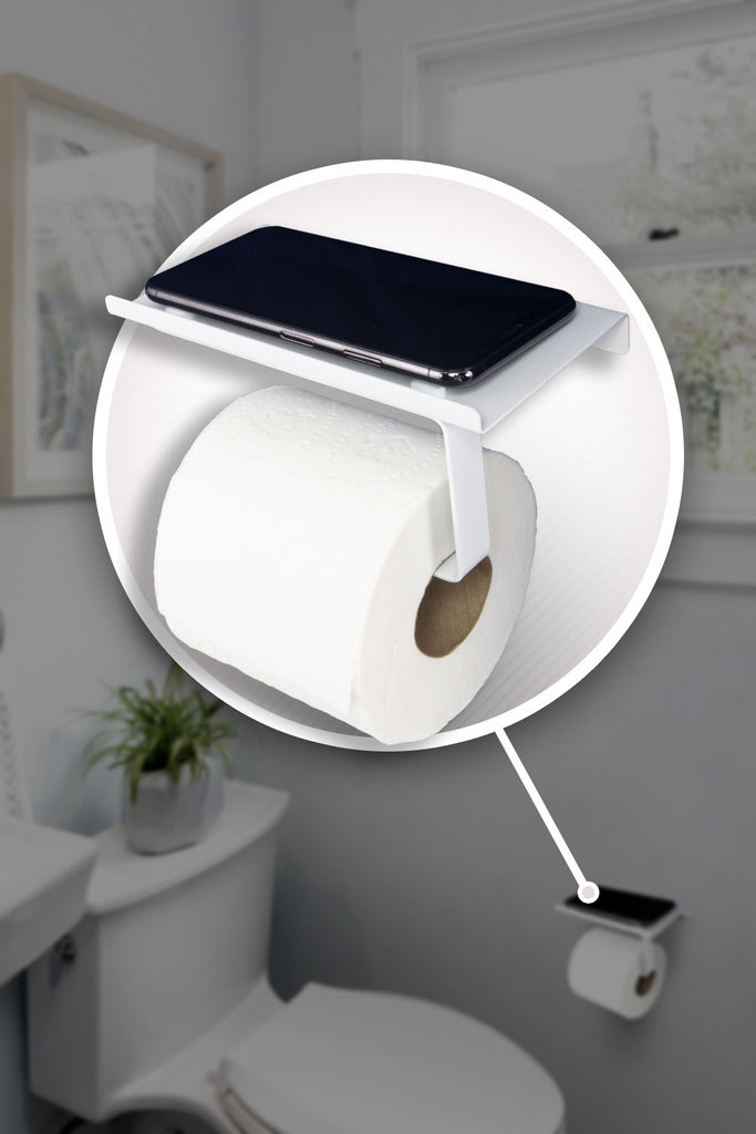 Toilet Paper Holder With Phone Shelf- Modern Style