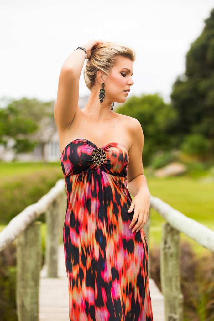 Abstract Medallion-Embellished Maxi Dress