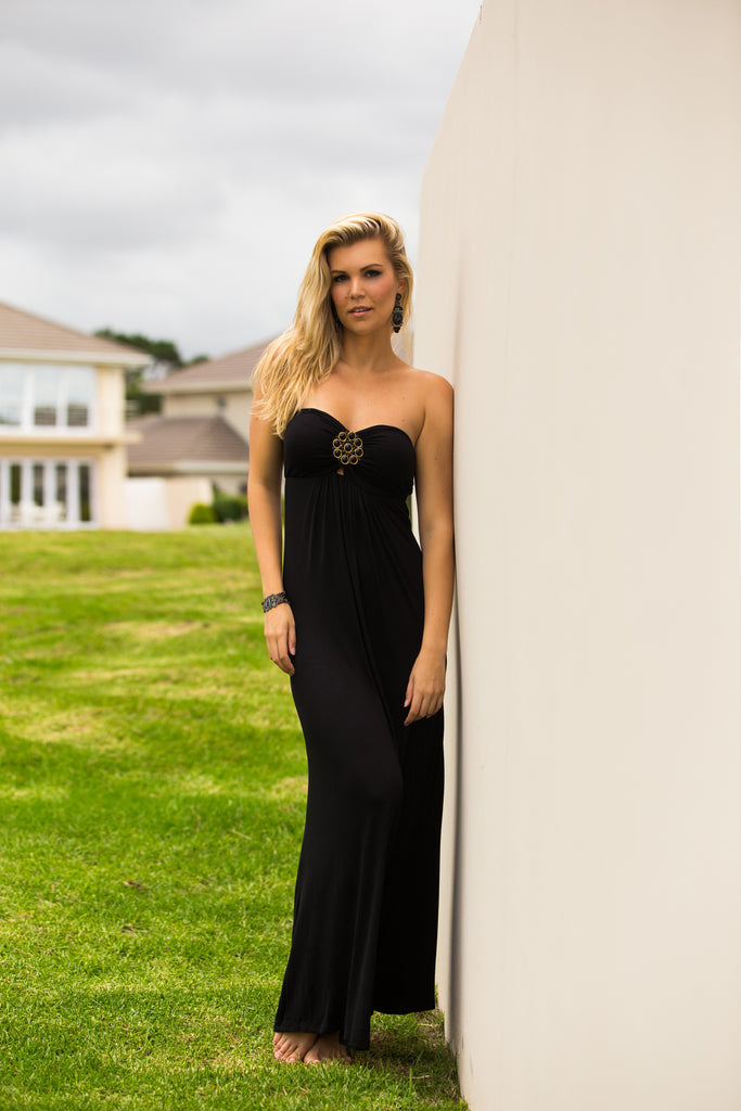 Black Medallion-Embellished Maxi Dress