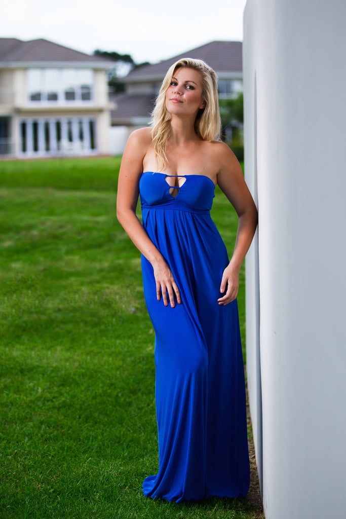 Royal Blue Bandeau Maxi Dress