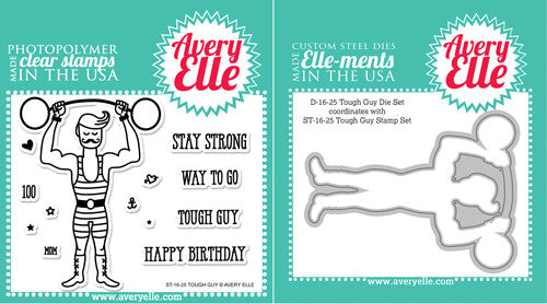 Avery Elle Tough Guy Clear Stamps and Elle-ments Die Set - 1