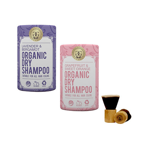 Green & Gorgeous Organics Dry Shampoo - Lavender & Bergamot and Grapefruit & Sweet Orange 2 Pack, 1 oz each with Powder Brush