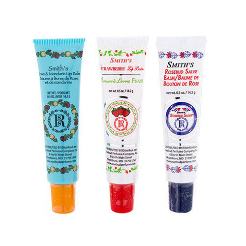 Rosebud Perfume Co. Tube 3 Pack: Smith's Rosebud Salve + Smith's Strawberry Lip Balm + Smith's Rose and Mandarin Lip Balm - 1