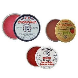 Rosebud Perfume Co. Collection Feat. 3 Tubes and 3 Tins: Smith's Rosebud Salve + Smith's Strawberry Lip Balm + Smith's Minted Rose Lip Balm -