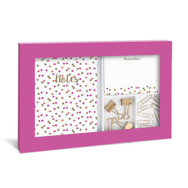 Graphique de France Neon Polka Dot Stationary Set