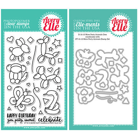 Avery Elle More Party Animals Stamp and Die Set - 1