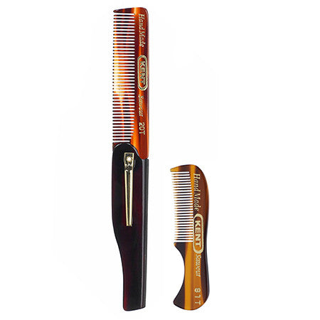 Kent 81T Beard and Moustache Comb + 20T Folding Pocket Comb with Clip - 1