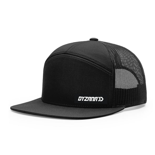 7 Panel Trucker Hat - Black
