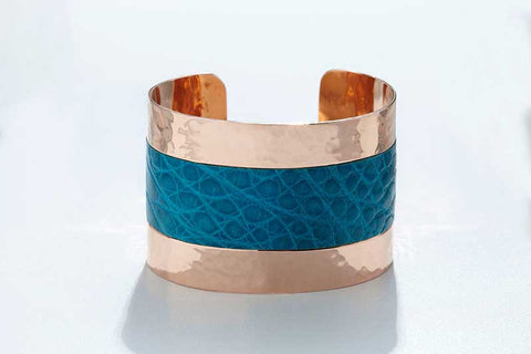 Arc Cuff - Hammered Copper - Alligator - Blue Turquoise