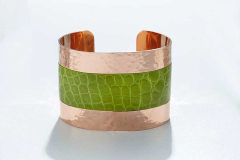 Arc Cuff - Hammered Copper - Alligator - Chartreuse