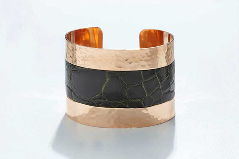 Arc Cuff - Hammered Copper - Alligator - Dark Olive