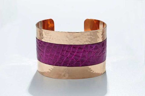 Arc Cuff - Hammered Copper - Alligator - Magenta