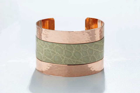 Arc Cuff - Hammered Copper - Alligator - Pistachio