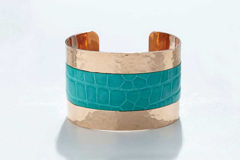Arc Cuff - Hammered Copper - Alligator - Santorini