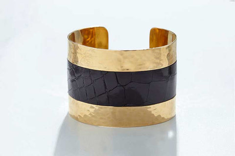 Arc Cuff - Hammered Gold - Alligator - Black