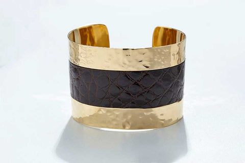 Arc Cuff - Hammered Gold - Alligator - Dark Chocolate