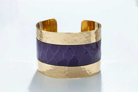 Arc Cuff - Hammered Gold - Alligator - Violet
