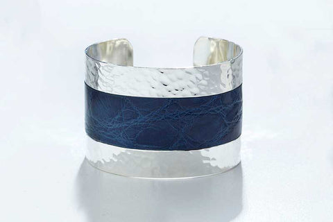 Arc Cuff - Hammered Silver - Alligator - Atlantic Blue