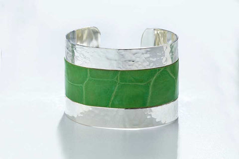 Arc Cuff - Hammered Silver - Alligator - Mantis Green