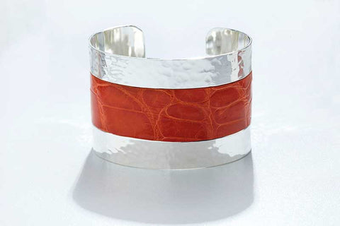 Arc Cuff - Hammered Silver - Alligator - Orange