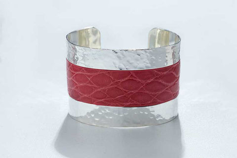 Arc Cuff - Hammered Silver - Alligator - Pink