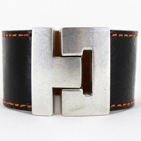 Odet Bracelet - Leather - Black With Orange Stitching