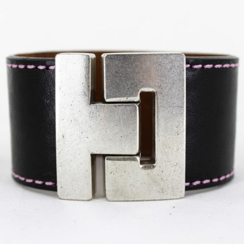 Odet Bracelet - Leather - Black With Pink Stitching