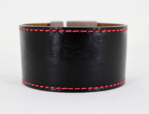 Odet Bracelet - Leather - Black With Red Stitching