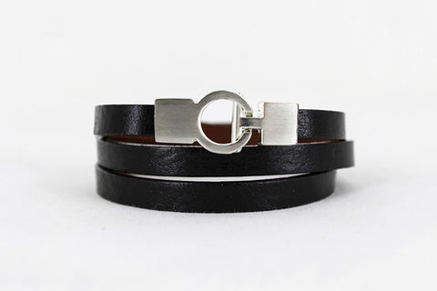Lys Triple Wrap Bracelet - Leather - Black