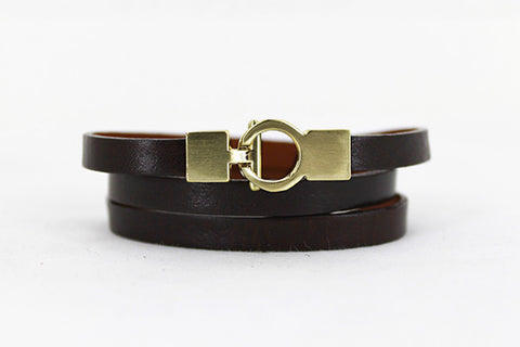 Lys Triple Wrap Bracelet - Leather - Brown
