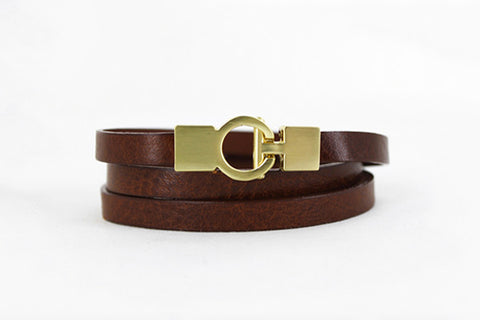Lys Triple Wrap Bracelet - Leather - Cognac