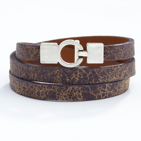 Lys Triple Wrap Bracelet - Leather - Cracked Mauve