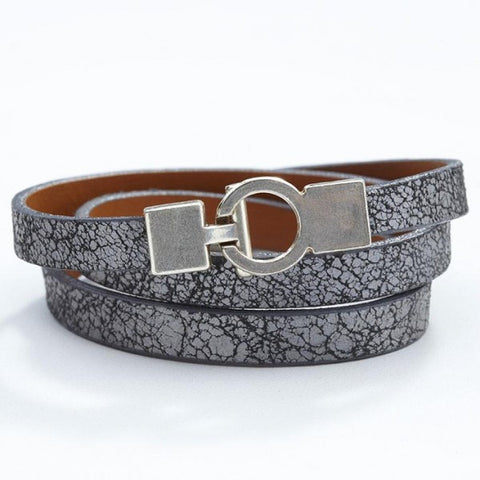 Lys Triple Wrap Bracelet - Leather - Cracked Silver