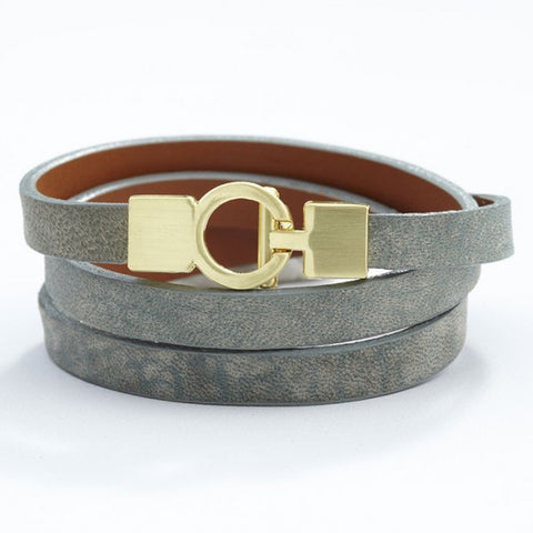 Lys Triple Wrap Bracelet - Leather - Dove Green