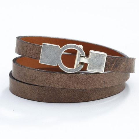 Lys Triple Wrap Bracelet - Leather - Elm