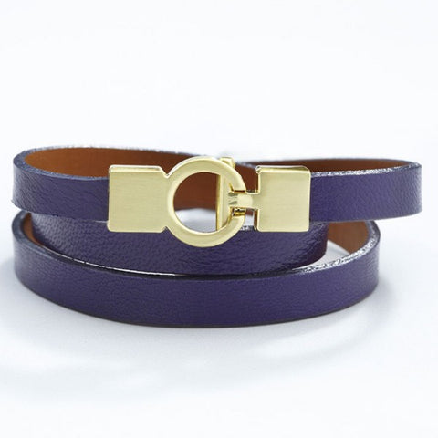 Lys Triple Wrap Bracelet - Leather - Violet