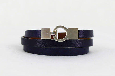 Lys Triple Wrap Bracelet - Leather - Navy Blue