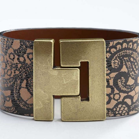 Odet Bracelet - Leather - Floral Beige