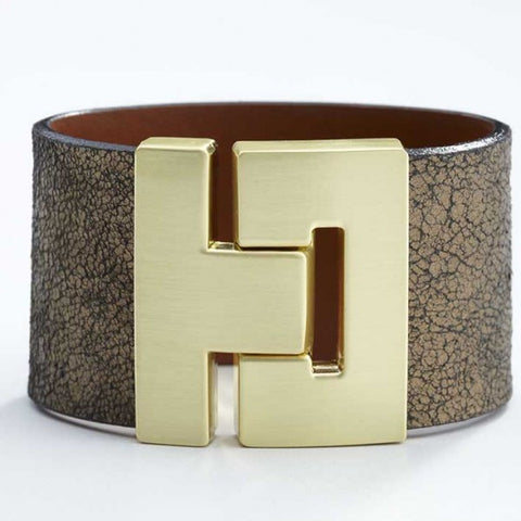Odet Bracelet - Leather - Cracked Gold