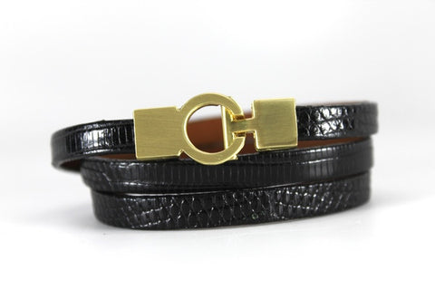 Lizard Lys Triple Wrap Bracelet - Black