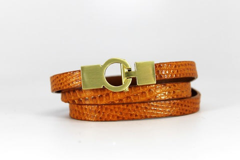 Lizard Lys Triple Wrap Bracelet - Ginger