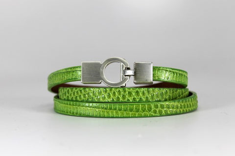 Lizard Lys Triple Wrap Bracelet - Lime Green