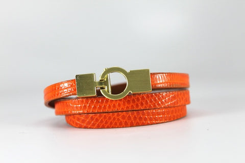 Lizard Lys Triple Wrap Bracelet - Orange