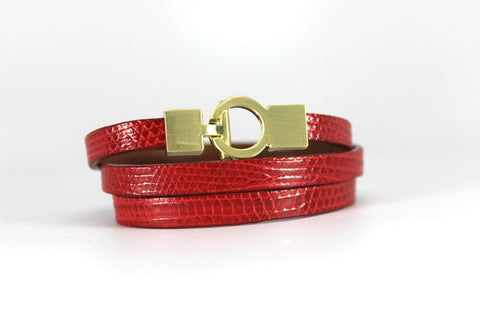 Lizard Lys Triple Wrap Bracelet - Red