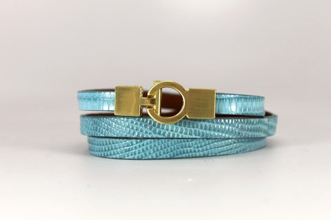 Lizard Lys Triple Wrap Bracelet - Sky Blue